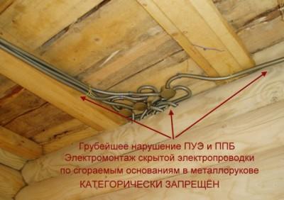 Скрытая электропроводка по сгораемым основаниям