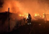 Тушение пожара на ферме