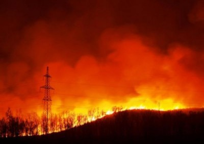 Лесные пожары вблизи линии электропередач