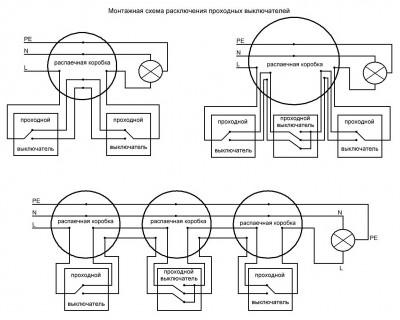 Так Вам должна подойти схема с установкой проходных выключателей или с дополнительным перекрестным.  Например, такая.