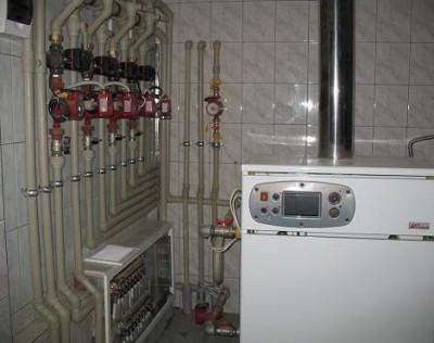 Монтаж системы отопления частного дома на основе твердотопливного водогрейного котла Dakon DOR 16(16 кВт) +резервный...