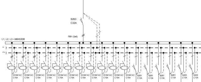 Вот однолинейная схема распределительного щита подвала, в котором установлены аппараты защиты мастерской.