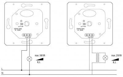 Для электромонтажа данного диммера потребуется установочное гнезда под монтажную коробку от 26 мм, в.