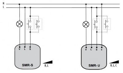 Диммер моноблочный.  Исполняется обычно единым блоком для установки в монтажную коробку как обычный выключатель.