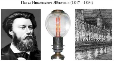 Первая электрическая свеча Яблочкова