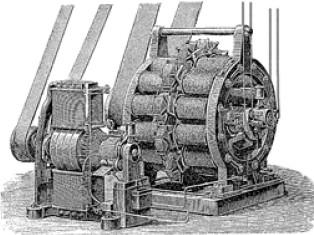 Машина переменного тока фирмы «Сименс и Гальске» и рядом машина постоянного тока для возбуждения электричества