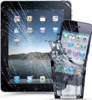 Разбитое стекло на планшете