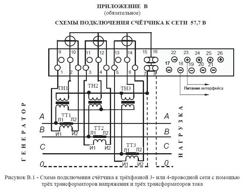 Схемы подключения трансформаторов тока с трехфазным счетчиком